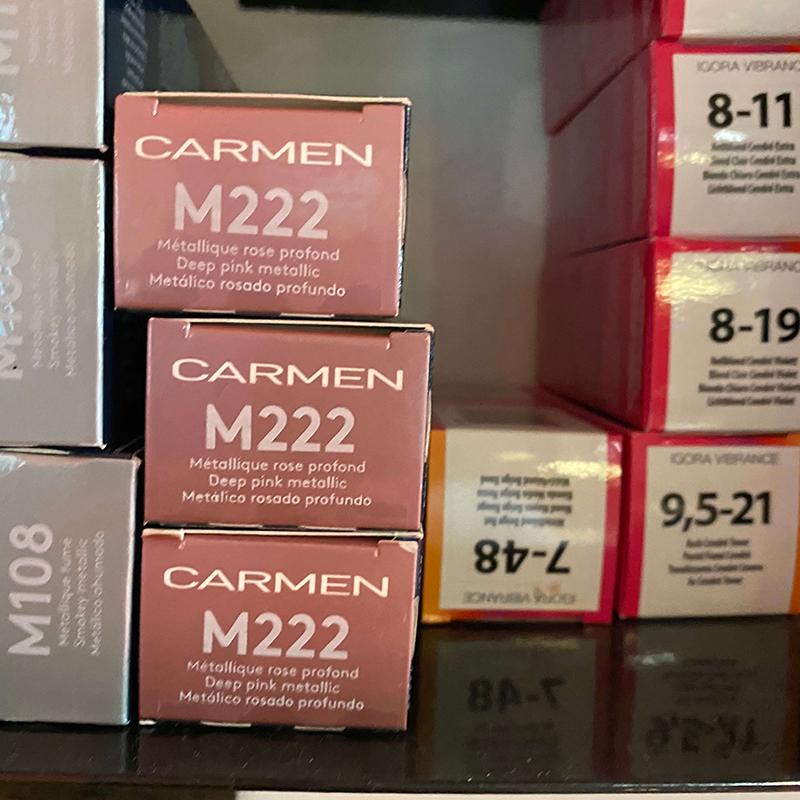 """les tubes de couleurs classés par numéros et par nom """"Carmen"""""""